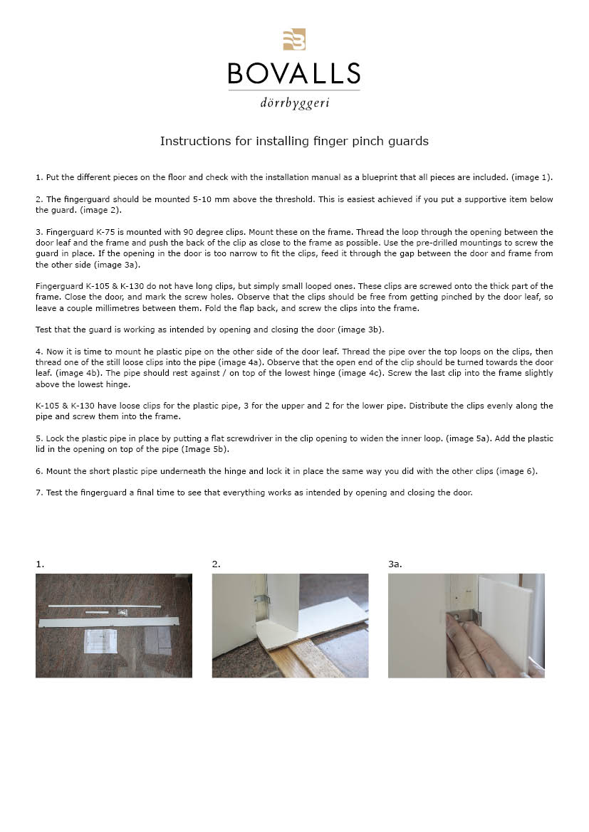 Instructions for installing finger pinch guard