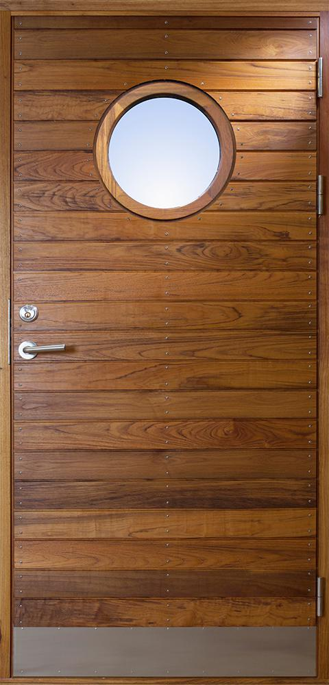 Exterior Doors Lng Teak With Round Glass Bovalls Drrbyggeri